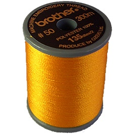 Brother satin finish embroidery thread 300m spool ORANGE 208
