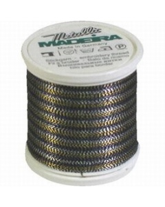 Madeira Twisted Metallic 200m Thread - 484 Black/Gold/Silver