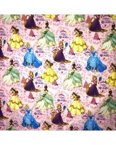 Disney Princess Toss Pink 'Listen to your Heart' Fabric