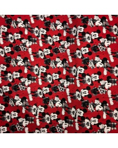 Disney's Mickey and Minnie Mouse Tartan Red Fabric