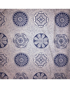 Blue and White Tribal Circles Pattern Fabric