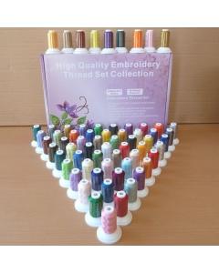 63 colours of embroidery thread on mini king spools