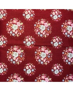 Red Circle Floral Patterned Fabric