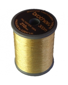 Brother satin finish embroidery thread. 300m spool METALIC GOLD 999