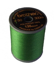 Brother satin finish embroidery thread. 300m spool MOSS GREEN 515