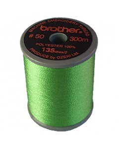 Brother satin finish embroidery thread. 300m spool LEAF GREEN 509