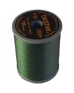 Brother satin finish embroidery thread. 300m spool OLIVE GREEN 519
