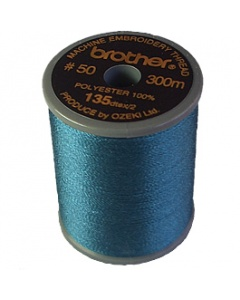 Brother satin finish embroidery thread. 300m spool PEACOCK BLUE 415