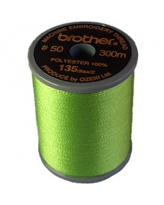 Brother satin finish embroidery thread. 300m spool LIME GREEN 513