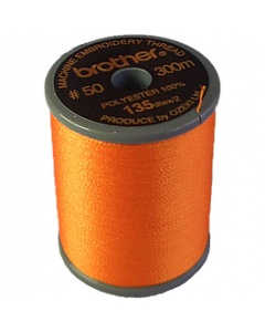 Brother satin finish embroidery thread. 300m spool TANGERINE 209