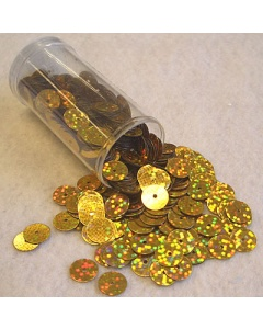 Gutermann Hologram Sequins 8mm flat in Hologram Gold