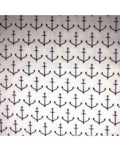 Black Anchor Pattern Fabric