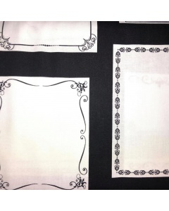 Black and White Border Frame Fabric