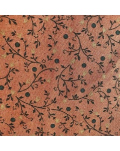 Faded Rust Leaves and Flower Vines Fabric