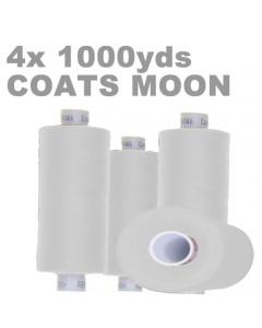 Pack of 4 1000m white overlock thread