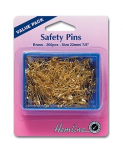 Gold Safety Pins in a Large Tub