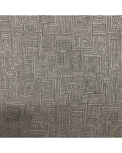 Square Lines Grey Fabric