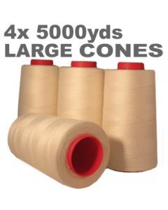 4 x Large ivory overlock thread cone