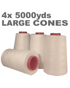 Pack of 4 large white overlock thread cone