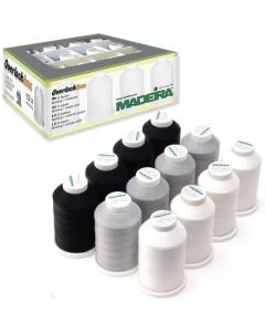 Madeira Aerolock thread box set of 12 cones white, black and grey