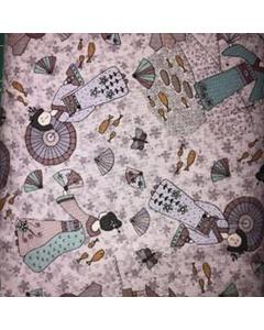 Oriental Themed Lilac Fabric