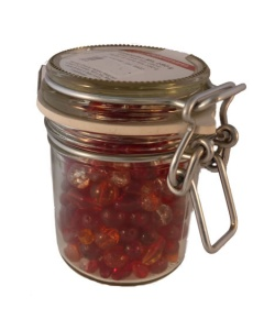 Jar of Red glass beads