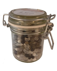 Jar of Black White and frosted clear glass beads