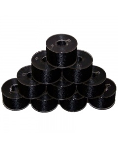 10x Plastic bobbins with black thread pre-wound on