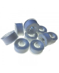 10x Plastic reusable bobbins with thread pre-wound on