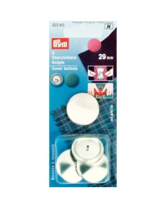 Prym Cover Buttons Brass Silver 29mm
