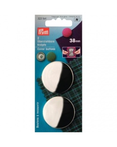Prym Cover Buttons Brass Silver 38mm