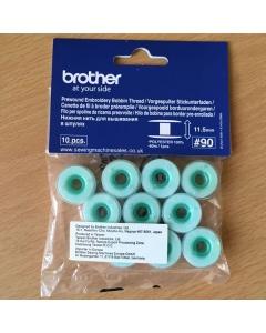 Prewound bobbins with green label bobbin thread
