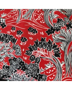 Black, Red and White Nature Themed Fabric
