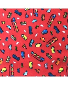 Red Transport 100% Brushed Cotton Fabric