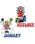 12 Calendar Month Machine Embroidery Designs