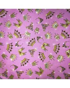Pink Princess Crowns Fabric