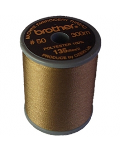 Brother satin finish embroidery thread. 300m spool LIGHT BROWN 323