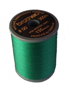 Brother satin finish embroidery thread. 300m spool EMERALD GREEN 507