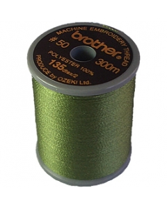 Brother satin finish embroidery thread. 300m spool DARK OLIVE 517