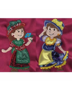 Applique Country Girls Machine Embroidery Designs