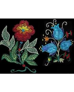 10 set Jacobean Applique Floral Embroidery Design
