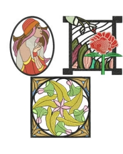 10 Set Art Nouveau Embroidery Design