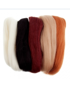 Natural Wool roving Assorted Browns