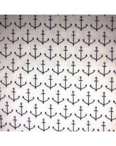 Black Anchor Pattern Fabric