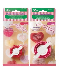 small and large heart shape pom pom makers