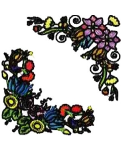 10 Set of Beautiful Floral Corners Embroidery Design