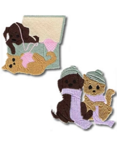 Puppy And Kitten Playing machine embroidery designs