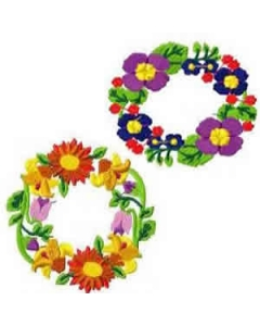 10 Set of Floral Wreath Embroidery Design