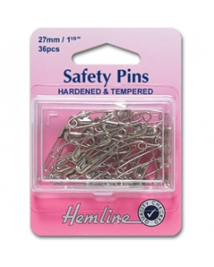 Silver safety pins 38mm