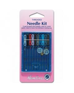 Self threaded sewing needle repair kit